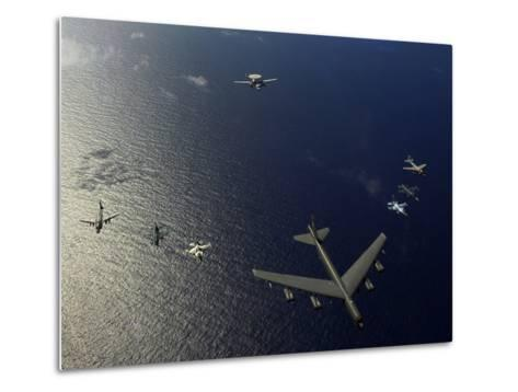 A U.S. Air Force B-52 Stratofortress Aircraft Leads a Formation of Aircraft-Stocktrek Images-Metal Print