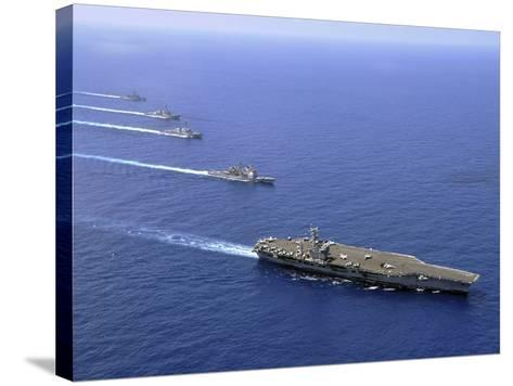 Military Ships Operate in Formation in the South China Sea-Stocktrek Images-Stretched Canvas Print