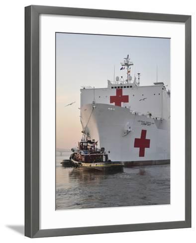 The Hospital Ship USNS Comfort Departs for Deployment-Stocktrek Images-Framed Art Print