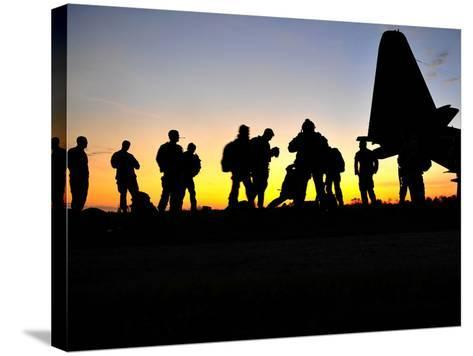 Green Berets Prepare to Board a KC-130 Aircraft-Stocktrek Images-Stretched Canvas Print