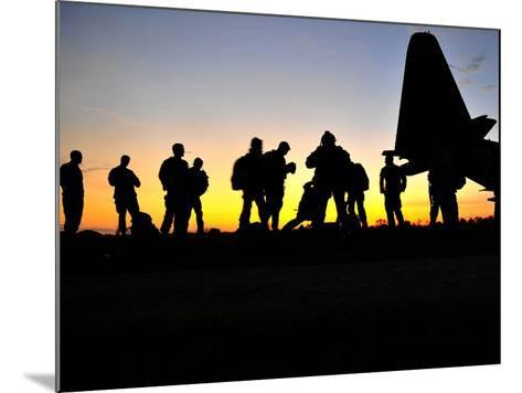 Green Berets Prepare to Board a KC-130 Aircraft-Stocktrek Images-Mounted Photographic Print
