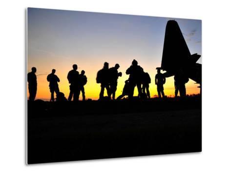 Green Berets Prepare to Board a KC-130 Aircraft-Stocktrek Images-Metal Print