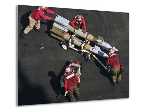 Marines Push Pordnance into Place on the Flight Deck of USS Enterprise-Stocktrek Images-Metal Print