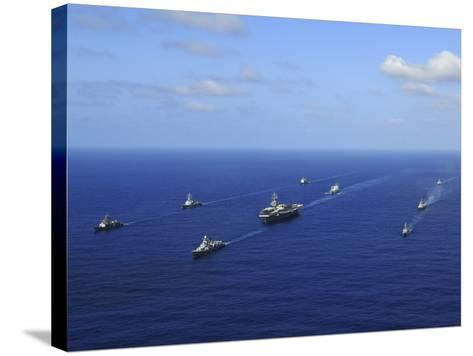 Ships from the Ronald Reagan Carrier Strike Group Transit the Pacific Ocean-Stocktrek Images-Stretched Canvas Print
