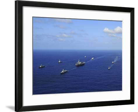 Ships from the Ronald Reagan Carrier Strike Group Transit the Pacific Ocean-Stocktrek Images-Framed Art Print