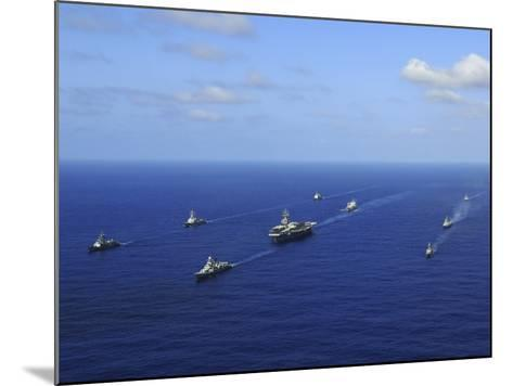 Ships from the Ronald Reagan Carrier Strike Group Transit the Pacific Ocean-Stocktrek Images-Mounted Photographic Print