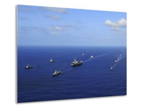 Ships from the Ronald Reagan Carrier Strike Group Transit the Pacific Ocean-Stocktrek Images-Metal Print