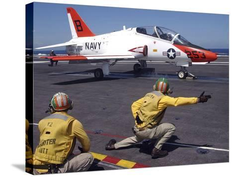 A Shooter Signlas the Launch of a T-45A Goshawk Trainer Aircraft-Stocktrek Images-Stretched Canvas Print