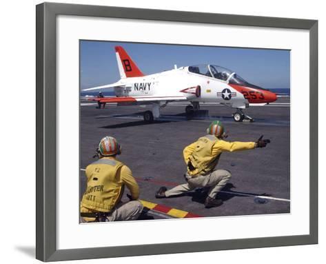 A Shooter Signlas the Launch of a T-45A Goshawk Trainer Aircraft-Stocktrek Images-Framed Art Print