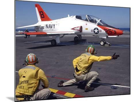A Shooter Signlas the Launch of a T-45A Goshawk Trainer Aircraft-Stocktrek Images-Mounted Photographic Print