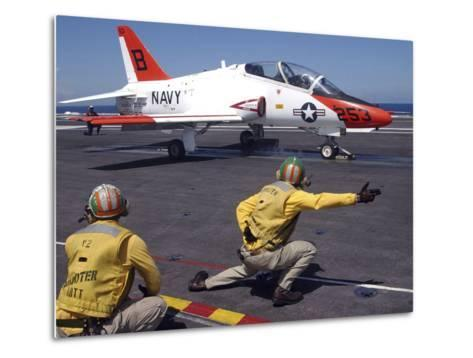 A Shooter Signlas the Launch of a T-45A Goshawk Trainer Aircraft-Stocktrek Images-Metal Print