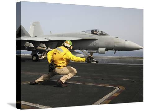 A Shooter Launches an F/A-18E Super Hornet from USS Dwight D Eisenhower-Stocktrek Images-Stretched Canvas Print