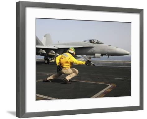 A Shooter Launches an F/A-18E Super Hornet from USS Dwight D Eisenhower-Stocktrek Images-Framed Art Print