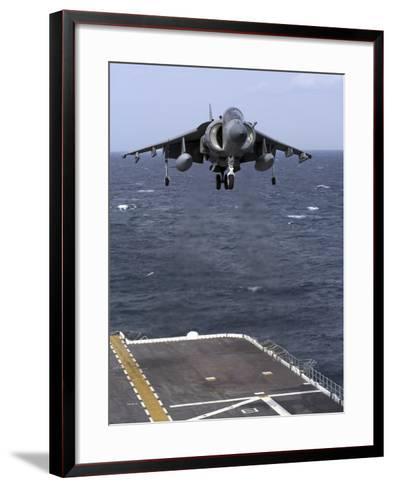 An AV-8B Harrier II Prepares to Land on the Flight Deck of USS Nassau-Stocktrek Images-Framed Art Print