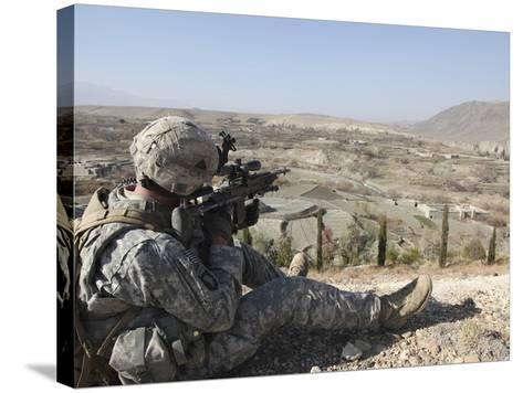 U.S Army Soldier Scans His Sector of Fire with His M14 Rifle in Afghanistan-Stocktrek Images-Stretched Canvas Print