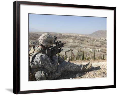 U.S Army Soldier Scans His Sector of Fire with His M14 Rifle in Afghanistan-Stocktrek Images-Framed Art Print