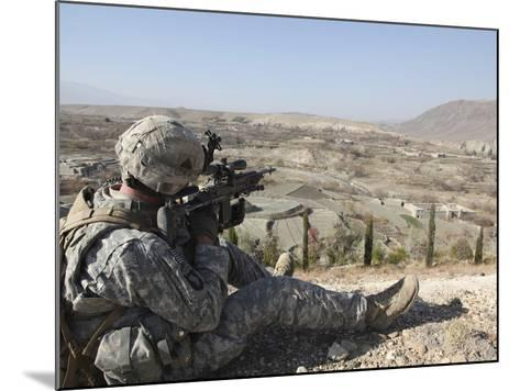 U.S Army Soldier Scans His Sector of Fire with His M14 Rifle in Afghanistan-Stocktrek Images-Mounted Photographic Print