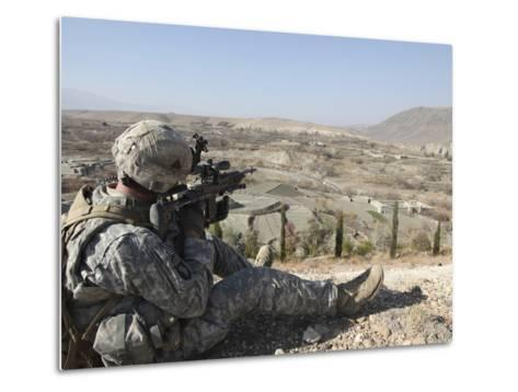 U.S Army Soldier Scans His Sector of Fire with His M14 Rifle in Afghanistan-Stocktrek Images-Metal Print