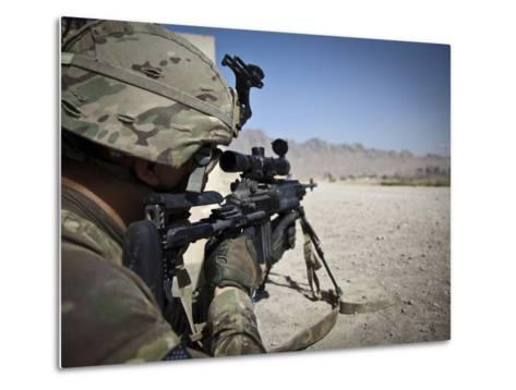 U.S. Army Sniper Pulls Security Using an Mk14 Enhanced Battle Rifle-Stocktrek Images-Metal Print