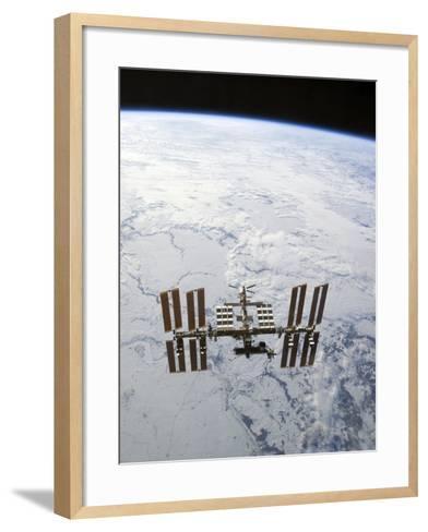 The International Space Station in Orbit Above Earth-Stocktrek Images-Framed Art Print