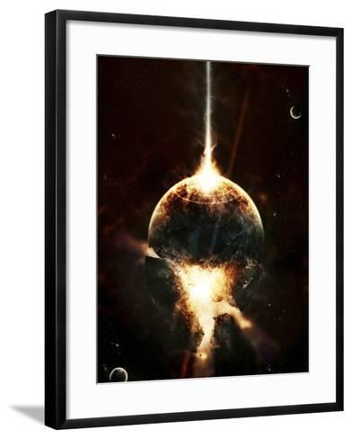 A Concentrated Gamma Ray Strikes a Planet, Tearing it Open-Stocktrek Images-Framed Art Print