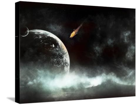 An Abandoned Planet About to Get Hit by a Gigantic Asteroid-Stocktrek Images-Stretched Canvas Print