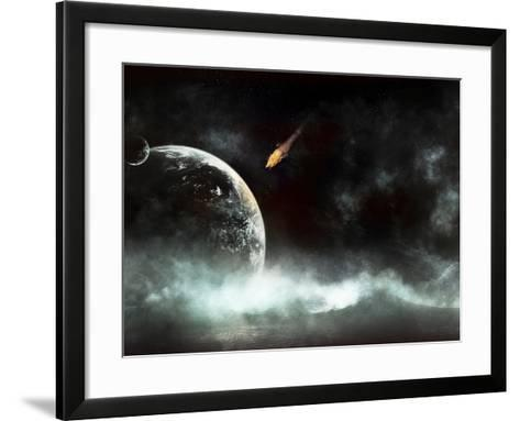 An Abandoned Planet About to Get Hit by a Gigantic Asteroid-Stocktrek Images-Framed Art Print