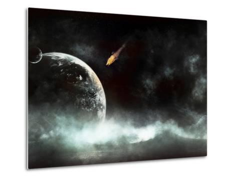 An Abandoned Planet About to Get Hit by a Gigantic Asteroid-Stocktrek Images-Metal Print