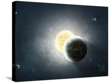 Moments before a Total Eclipse of the Sun-Stocktrek Images-Stretched Canvas Print