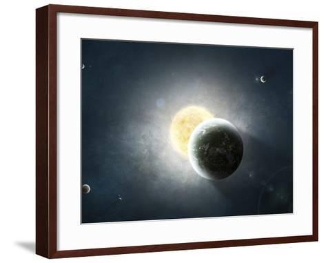 Moments before a Total Eclipse of the Sun-Stocktrek Images-Framed Art Print