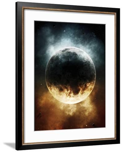 A Rare Planet Surrounded by a Cloud of Plasmatic Nitrogen and Flames-Stocktrek Images-Framed Art Print