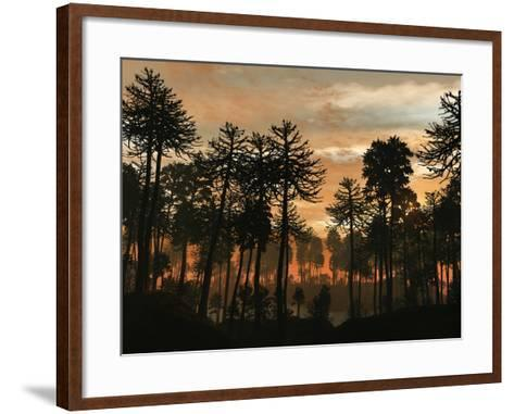 A Forest of Cordaites and Araucaria Silhouetted Against a Colorful Sunset-Stocktrek Images-Framed Art Print