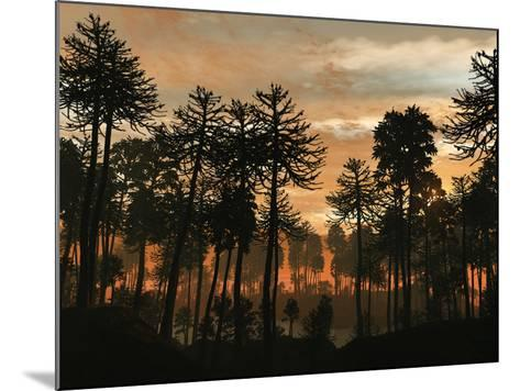 A Forest of Cordaites and Araucaria Silhouetted Against a Colorful Sunset-Stocktrek Images-Mounted Photographic Print