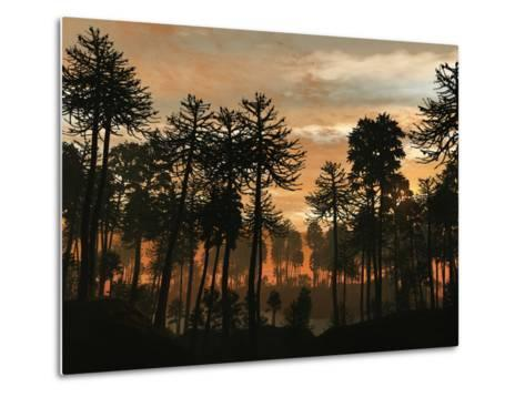 A Forest of Cordaites and Araucaria Silhouetted Against a Colorful Sunset-Stocktrek Images-Metal Print