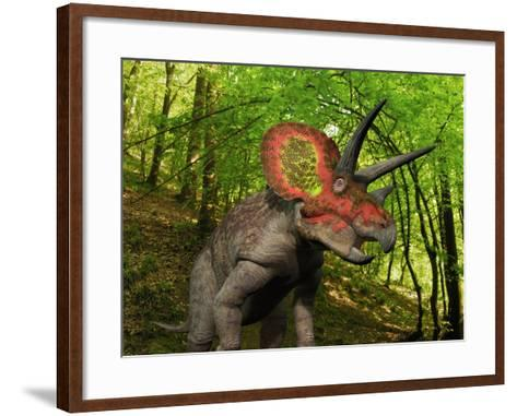 A Colorful Triceratops Wanders a Cretaceous Forest-Stocktrek Images-Framed Art Print