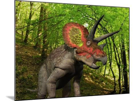 A Colorful Triceratops Wanders a Cretaceous Forest-Stocktrek Images-Mounted Photographic Print
