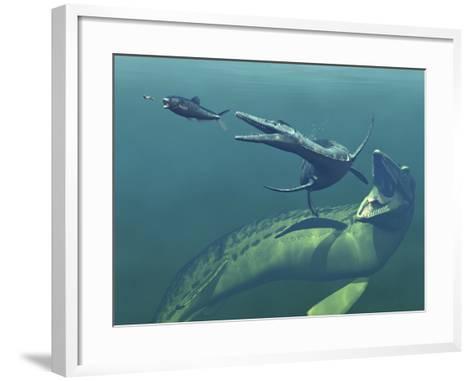 Marine Predators of the Cretaceous Period-Stocktrek Images-Framed Art Print