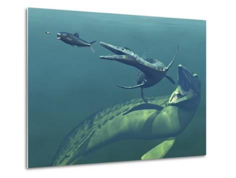 Marine Predators of the Cretaceous Period-Stocktrek Images-Metal Print