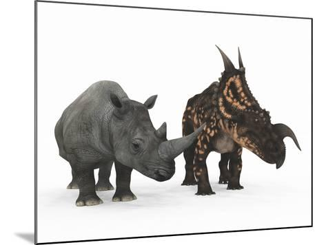 An Adult Einiosaurus Compared to a Modern Adult White Rhinoceros-Stocktrek Images-Mounted Photographic Print