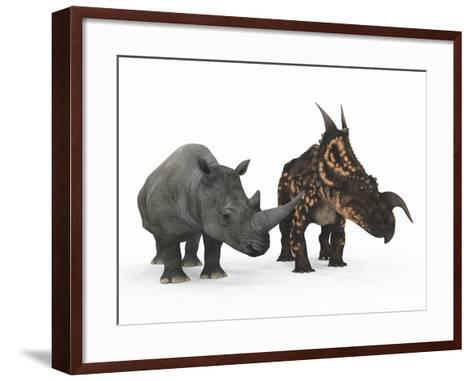 An Adult Einiosaurus Compared to a Modern Adult White Rhinoceros-Stocktrek Images-Framed Art Print