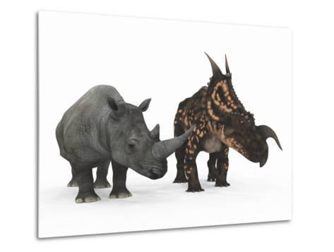 An Adult Einiosaurus Compared to a Modern Adult White Rhinoceros-Stocktrek Images-Metal Print