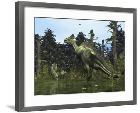 A Lambeosaurus Rears onto its Hind Legs in Response to a Threat-Stocktrek Images-Framed Art Print