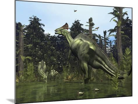 A Lambeosaurus Rears onto its Hind Legs in Response to a Threat-Stocktrek Images-Mounted Photographic Print