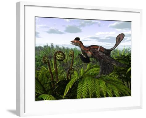 A Feathered Microraptor Perched Atop a Tree Fern-Stocktrek Images-Framed Art Print
