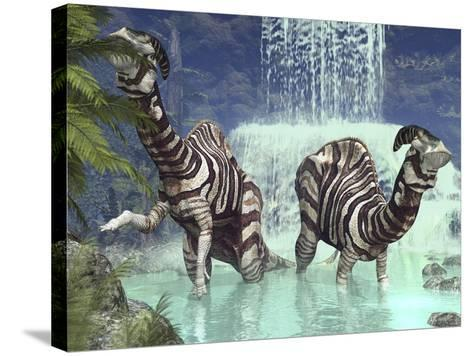 A Pair of Parasaurolophus Feed on Flora Near a Waterfall-Stocktrek Images-Stretched Canvas Print