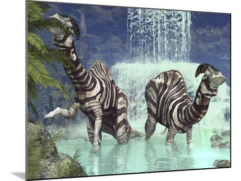 A Pair of Parasaurolophus Feed on Flora Near a Waterfall-Stocktrek Images-Mounted Photographic Print