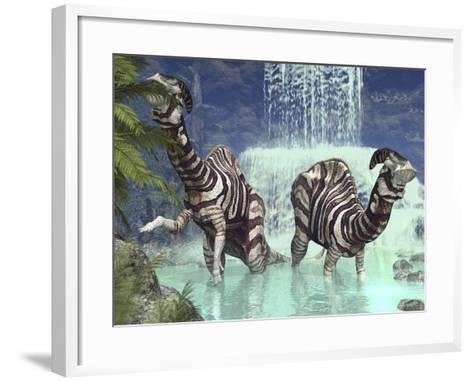 A Pair of Parasaurolophus Feed on Flora Near a Waterfall-Stocktrek Images-Framed Art Print