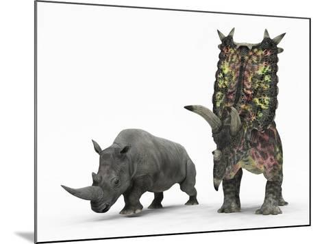 An Adult Pentaceratops Compared to a Modern Adult White Rhinoceros-Stocktrek Images-Mounted Photographic Print