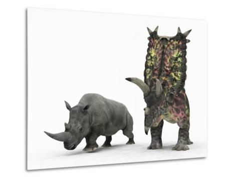 An Adult Pentaceratops Compared to a Modern Adult White Rhinoceros-Stocktrek Images-Metal Print