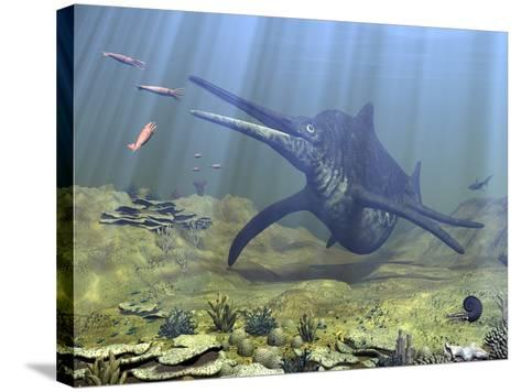 A Massive Shonisaurus Attempts to Make a Meal of a School of Squid-Like Belemnites-Stocktrek Images-Stretched Canvas Print
